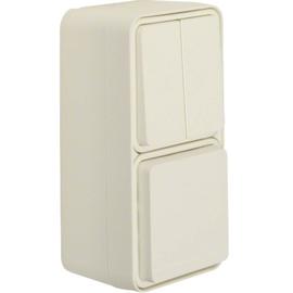 47903512 BERKER W.1 FR AP SSD+WSS- Kombination, senkrecht, polarweiß Produktbild