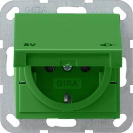 041502 Gira Schuko-Steckdose GRÜN mit Klappdeckel Produktbild