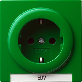 018745  GIRA S-Color Schukosteckdose mit Schriftfeld grün Produktbild