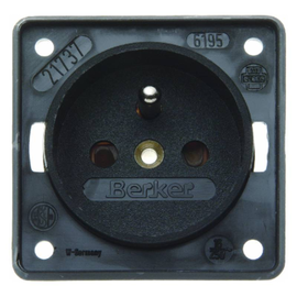 09619505 Berker Steckdose m.Schutzkont. schwarz matt Produktbild