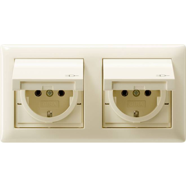 115801 GIRA SCHUKO-Steckdosen KD Rahmen 2fach IP44 Standard 55 Cremeweiß Produktbild
