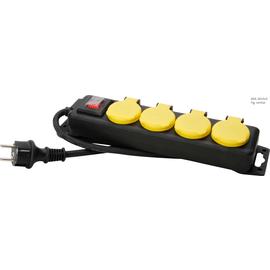 223012002 Kopp Tischverteiler 4-fach FR IP44 mit Klappdeckel 1,5m gelb/schwarz Produktbild