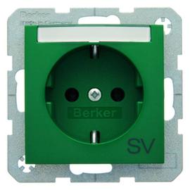 47508913 Berker BERKER S.1/B.x SSD mit Schriftfeld und Aufdruck SV grün glänzen Produktbild