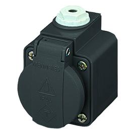 10083 MENNEKES Schuko-Aufbausteckdose schwarz 16A 2p+E 230V IP44 Produktbild