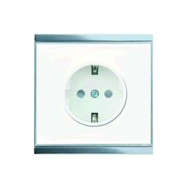 70318 ELSNER Corlo Steckdose weiß, Rand glänzend verchromt Produktbild