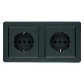 47206086 Berker Q.1 SSD Kombination 2fach mit Rahmen anthrazit, samt Produktbild