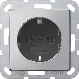 0188605 Gira SCHUKO Steckdose System 55 Chrom/Schwarz Produktbild
