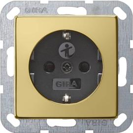 0183604 Gira SCHUKO Steckdose SK KS System 55 Messing/Schwarz Produktbild