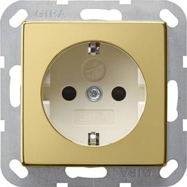 0183614 Gira SCHUKO Steckdose SK KS System 55 Messing/Cremeweiß Produktbild