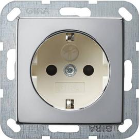 0183615 Gira SCHUKO Steckdose SK KS System 55 Chrom/Cremeweiß Produktbild