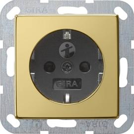 0453604 Gira SCHUKO Steckdose KS System 55 Messing/Schwarz Produktbild