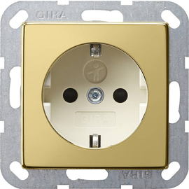 0453614 Gira SCHUKO Steckdose KS System 55 Messing/Cremeweiß Produktbild
