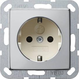 0453615 Gira SCHUKO Steckdose KS System 55 Chrom/Cremeweiß Produktbild