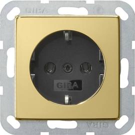 0466604 Gira SCHUKO Steckdose ohne Kralle System 55 Messing/Schwarz Produktbild