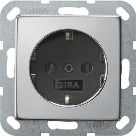 0466605 Gira SCHUKO Steckdose ohne Kralle System 55 Chrom/Schwarz Produktbild