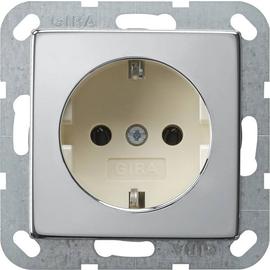 0466615 Gira SCHUKO Steckdose ohne Kralle System 55 Chrom/Cremeweiß Produktbild