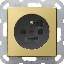 0485604 Gira Steckdose Erdstift KS System 55 Messing/Schwarz Produktbild