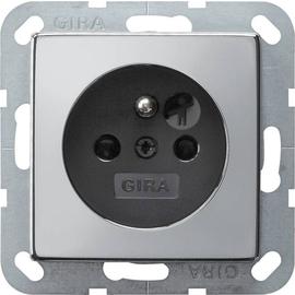0485605 Gira Steckdose Erdstift KS System 55 Chrom/Schwarz Produktbild