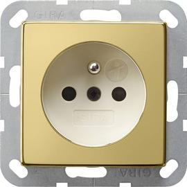 0485614 Gira Steckdose Erdstift KS System 55 Messing/Cremeweiß Produktbild