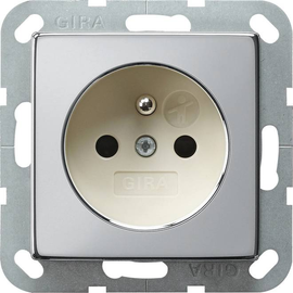 0485615 Gira Steckdose Erdstift KS System 55 Chrom/Cremeweiß Produktbild