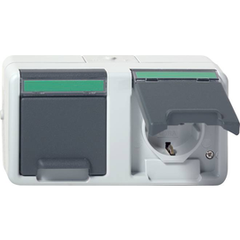 078430 Gira Doppel SCHUKO ammoniak BSF waage WG Aufputz Grau Produktbild
