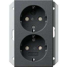 273128 Gira Doppel SCHUKO KS, für 1fach Dose System 55 Anthrazit Produktbild
