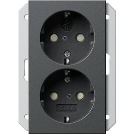273528 Gira Doppel SCHUKO KS, für 1,5fach Dose System 55 Anthrazit Produktbild