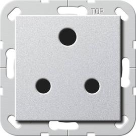 277426 Gira Steckdose Round Pin 15 A abschaltbar System 55 Farbe Alu Produktbild