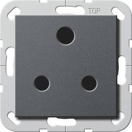 277428 Gira Steckdose Round Pin 15 A abschaltbar System 55 Anthrazit Produktbild