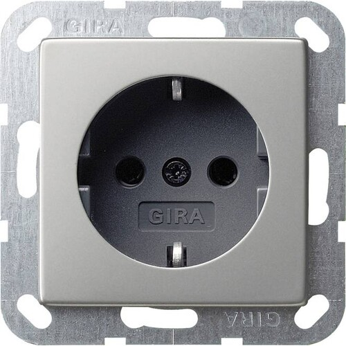 0188600 Gira SCHUKO System 55 Edelstahl Produktbild Front View L