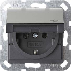 0414600 Gira SCHUKO KD + SH System 55 Edelstahl Produktbild