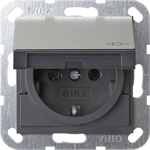 0454600 Gira SCHUKO KD System 55 Edelstahl Produktbild Front View L