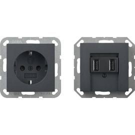 241528 Gira SCHUKO SH + USB Steckd. 2f Verkaufspaket Anthrazit Produktbild