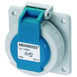 17006 Mennekes MENNEKES Schuko Anbausteckdose blau 16A 2P+E 230V IP68 Produktbild