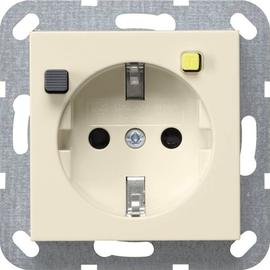 267701 Gira FI Schutzsteckd. 30 mA SH System 55 Cremeweiß Produktbild