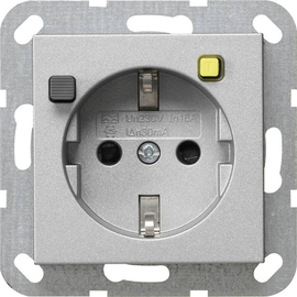 267726 Gira FI Schutzsteckd. 30 mA SH System 55 F Alu Produktbild