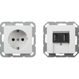 241503 Gira SCHUKO SH + USB Steckd. 2f Verkaufspaket Reinweiß Produktbild