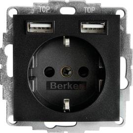 48031606 Berker S.1/B.xSSD mit 2fach USB 2,4 A anthrazit matt Produktbild