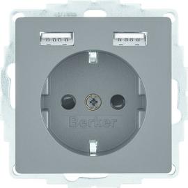 48036086 Berker BERKER Q.x SSD mit 2fach USB 2,4 A anthrazit samt Produktbild
