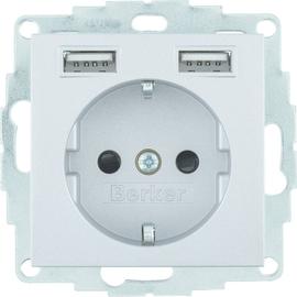 48031404 Berker BERKER S.1/B.x SSD mit 2fach USB 2 4 A alu matt Produktbild