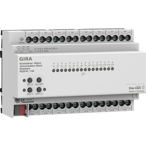 502800 Gira Schalt /Jal.aktor 16f/8f 16 A REG Std KNX Secure Produktbild Front View L