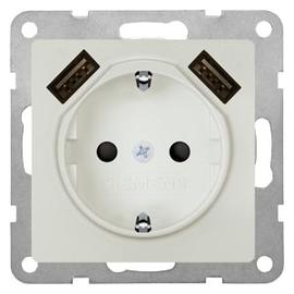 5UB1970-0TW01 Siemens Schukosteckdose mit 2-fach USB-Ladegerät titanweiß Produktbild