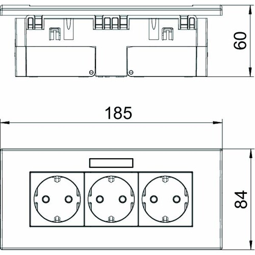 6119433 OBO SDE-RW D0RW3B Steckdosen- einheit Modul 45, 3fach 84x185x59mm Produktbild Additional View 2 L