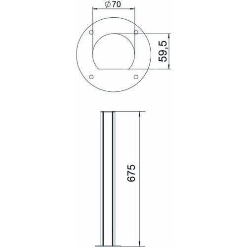 6290091 Obo ISSRHSM45EL Installationssäule Boden 70x670  Alumin Produktbild Additional View 2 L