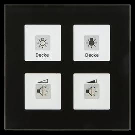 RF-GTA4S.01 MDT KNX RF Funk Glastaster 4-Fach Plus mit Aktor schwarz Produktbild
