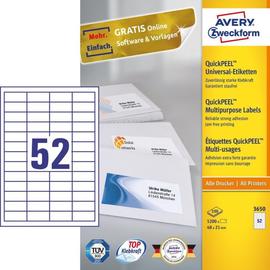 171987-000 Universaletiketten 48x21 ws Avery Zweckform NR 3650 Produktbild