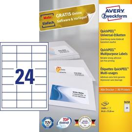 2943-006 Universaletiketten Avery auf A4 ws 100 BL Gr:3658 64,6x33,8/2400 Produktbild