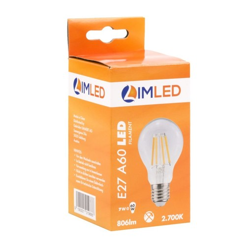 LIMLED Filament LED Lampe 7W klar E27 806lm A60 2700K Produktbild