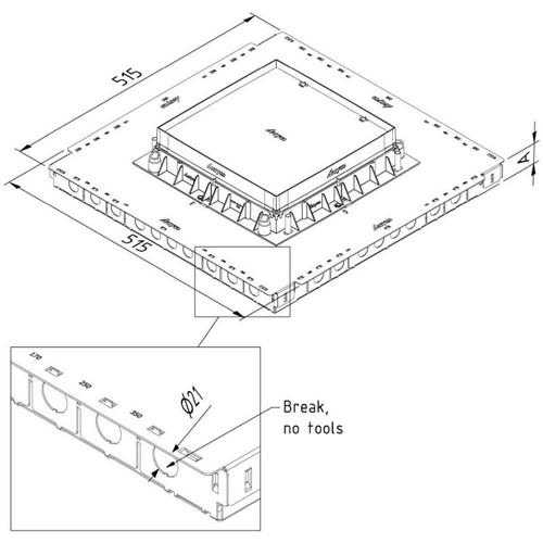 15638 Trayco FS-BOX38-SQ-260-500-PG Unterflurdose 515x515mm Produktbild Front View L