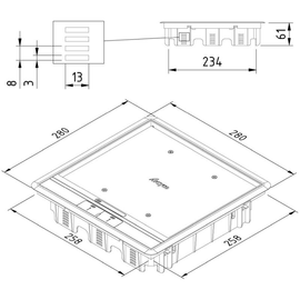 15641 Trayco FS-HC8-CE-SQ-260-PA7011 Klappdeckel quadratisch f. Teppich grau Produktbild